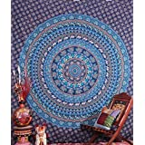 Blue Traditional Camel Psychedelic Tapestry Camel Peacock Bedspread By Labhanshi
