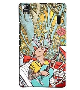 Blue Throat Deer On Guitar Printed Designer Back Cover/ Case For Lenovo K3 Note