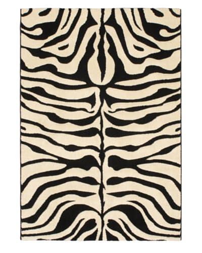 Zebra Trek Modern Rug, Blue/Red/White, 4′ 4″ x 6′ 3″ As You See