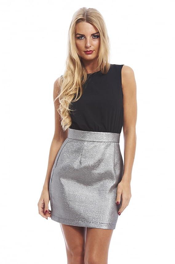 AX Paris Women's Metallic Skirt Two In One Dress