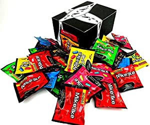 Mike and Ike 4-Flavor Variety: Five 0.5 oz Snack Packs Each of Original Fruits, Tropical Typhoon, Berry Blast, and Zours in a BlackTie Box (20 Items Total)