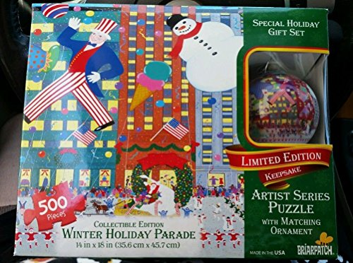 Winter Holiday Parade 500 Pc Puzzle with Ornament Ltd Edition Artist Series Briarpatch