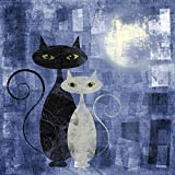Pitaara Box Black And White Cat - LARGE Size 30.0 Inch X 30.0 Inch - UNFRAMED SELF-ADHESIVE PEEL & STICK GLOSSY...