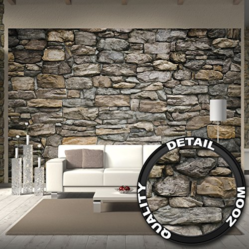 fototapete graue steinwand wand dekoration wandbild steinmauer poster motiv by great art 336. Black Bedroom Furniture Sets. Home Design Ideas