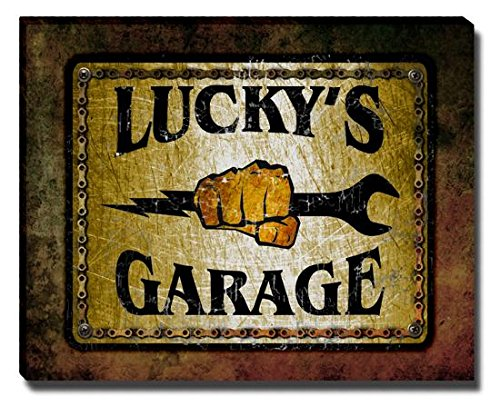 luckys-garage-stretched-canvas-print