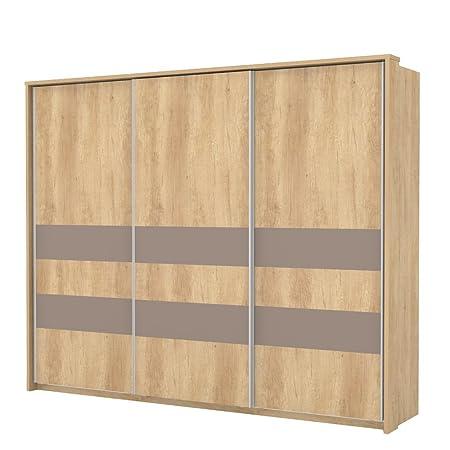 Schwebeturenschrank / Kleiderschrank Lepa 02, Farbe: Eiche Braun / Braun - Abmessungen: 225 x 278 x 64 cm (H x B x T)