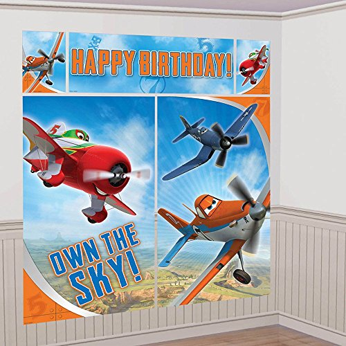 Amscan Disney Planes 2 Birthday Party Wall Decoration Scene Setters Kit (5 Piece), Multi, 59 x 65""