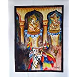 Lord Shiva's Bull Nandi Water Color on Art Paper Drawing Contemporary Art Painting by an Indian Artist Kamal Sharma 63.50 x 50.80 cmsby DakshCraft