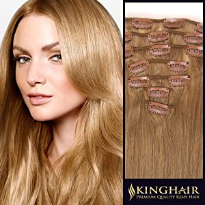 Deluxe 20 Inch Golden Blonde_16 Premium Clip In Remy Human Hair Extensions _7 Pieces Set_Clips Attached Full Head_110g Weight