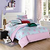 Ttmall Twin Full/queen Size Cotton Blue Pink Flowers Floral for Girls Printed Duvet Cover Set/bed Linens/bedding Sets/bed Sets/bed Covers (Full/Queen, without comforter)