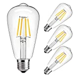 Dimmable led Light Bulb, 4w LED Edison Bulb, 40 Watt Incandescent Equivalent, 4W Vintage LED Filament Light Bulb, st64 led Bulb,2700K-3000K Soft White,e26 /e27 led Bulb, Clear Glass Cover, 4 Pack (Color: LED 4W/ Dimmable)