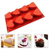 IC ICLOVER Vermilion 100% Food Grade Silicone Bakeware Cake Mold Baking Pan Heart Mold with 8 Cups for Baking Cakes Muffins Valentine Chocolate DIY Soap Mother's Day Gift for Mom (Color: Vermilion)
