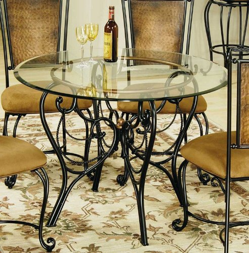 Cheap Dining Table with Glass Top in Copper Finish (HS-4527DTBG44)