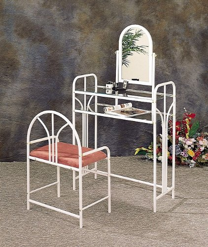 White Finish Metal Art Deco Vanity Set w/Glass Shelves Mirroor & Stool/Bench