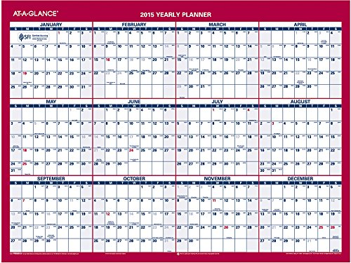 At-A-Glance Two-Sided Compact Horizontal/Vertical Yearly Erasable Wall Calendar 2015, 12 X 15.68 Inches (Pm330B-28)