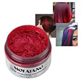 7 Colors Hair Wax HUBEE Natural Dye Hairstyle Matte Unisex One-time Hair Color Wax Molding Paste for Halloween,Party, Cosplay (Red) (Color: Red)