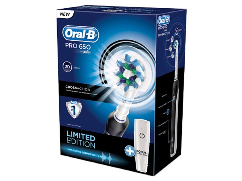 Oral B Pro 650 Limited Edition Black 3d Action Electric Toothbrush Travel Case Ebay