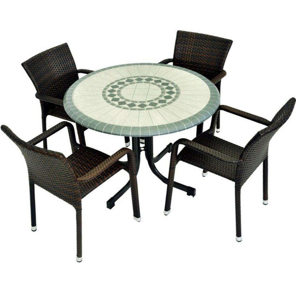 JUSThome Euro Gartenmöbel Sitzgruppe Gartengarnitur Set 4x Stuhl + Tisch in Technorattan-Optik Anthrazit Grün