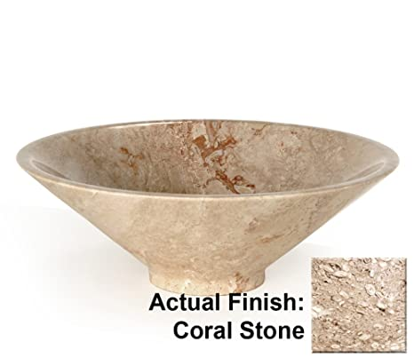 Funnel Vessel Bathroom Sink Sink Finish: Coral Marble
