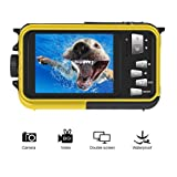 Underwater Camcorder Waterproof Camera Full HD 1080P for Snorkelling Waterproof Point and Shoot Digital Camera Dual Screen Action Camera (Color: 801YB)
