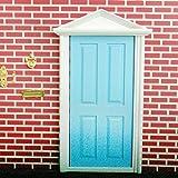 Dollhouse Puerta Exterior de Madera Miniatura 4 Paneles Llave Mueble para Casa de Mu�ecas -Azul