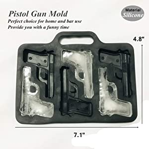 (3 Pack) Ice Cube Mold Set, 3D Silicone & Plastic Weapon Series for Ice Ball, Cake & Chocolate Maker, Contains a Silicone Grenade Mould, a Silicone Pistol Gun Mould and a Plastic Bullet Mould (Type 1) (Color: Type 1)