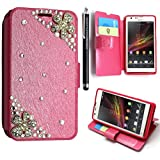 SONY XPERIA SP M35H VARIOUS PU LEATHER MAGNETIC FLIP CASE SKIN COVER POUCH + FREE STYLUS (Daisy Flower on Pink Diamond)