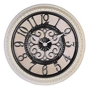 Hense Vintage European Creative 16 Inch Round Wall Clock Non Ticking Silent Living