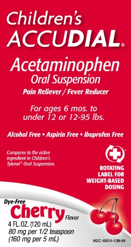 Children's Accudial Acetaminophen Pain Reliever/Pain Reducer, Dye Free Cherry, 4 Ounce (Pack of 2)