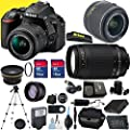 Nikon D5500 Premium Package with 18-55mm VR II Lens & 70-300mm G Lens with Two Memory Cards, Tripod, Case, SD Card Reader, Wide Angle Lens, Telephoto Lens and More - International Version