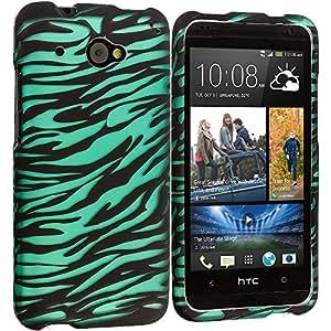 Accessory Planet(TM) Black/Baby Blue Zebra 2D Hard Snap-On Design Rubberized Case Cover Accessory for HTC Desire 601 Zara