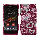 Fincibo (TM) Sony Xperia Z Ultra Togari C6802 C6806 C6833 Bling Crystal Full Rhinestones Diamond Case Protector - Pink Pattern Hearts