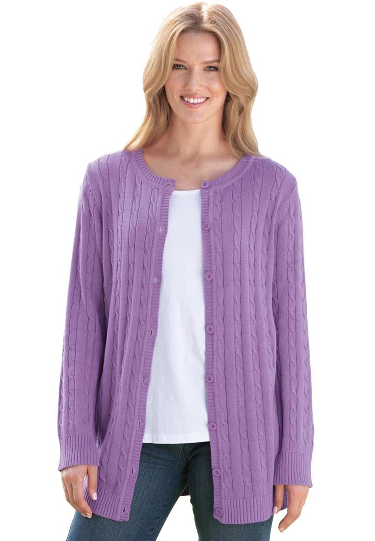 Plus Size Cabled Cardigan Sweater