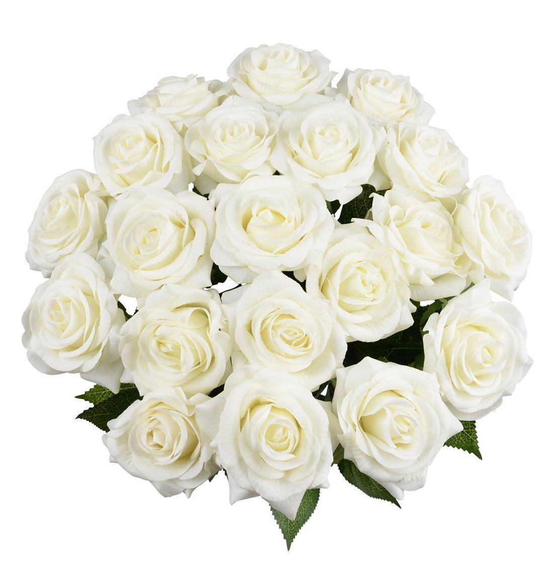 10 Pcs Real Touch Silk Artificial Rose Flowers Silk Gluing PU Fake Flower Home Decorations for Wedding Party or Birthday Garden Bridal Bouquet Flower Saint Valentines Day Gifts Party Event(White)
