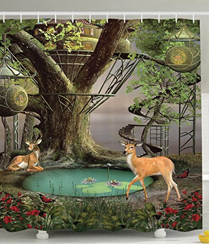 Deer Decor Woods Tree House Natural Landscape Shower Curtain Green Gray Turquoise Khaki Brown Red