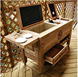 Outdoor Patio Bar Cooler - Wooden Rustic Kitchen Furniture - Grilling Prep Station on Roller Wheels - Wine Bottle Storage, Beer Bottle Opener, Towel Rack, Cutting Board Accessories - Eclectic Decor