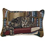 Gray Tabby Cat & Books Tapestry Decorative Throw Pillow