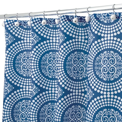interdesign medallion shower curtain 72 by 72inch whiteink blue