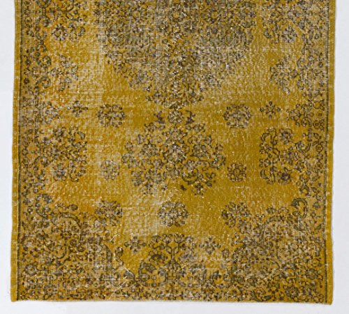 4 X 7 Feet Yellow Vintage Overdyed Handmade Turkish Rug