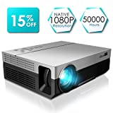 1080P Projector, CiBest Full HD True Native 1920 X 1080P Video Projector +80% Lumens Brightness Upgraded FHD Movie Projector for Home Theater Entertainment [2018 Newest Model] (Color: Gray, Tamaño: 1920x1080P)