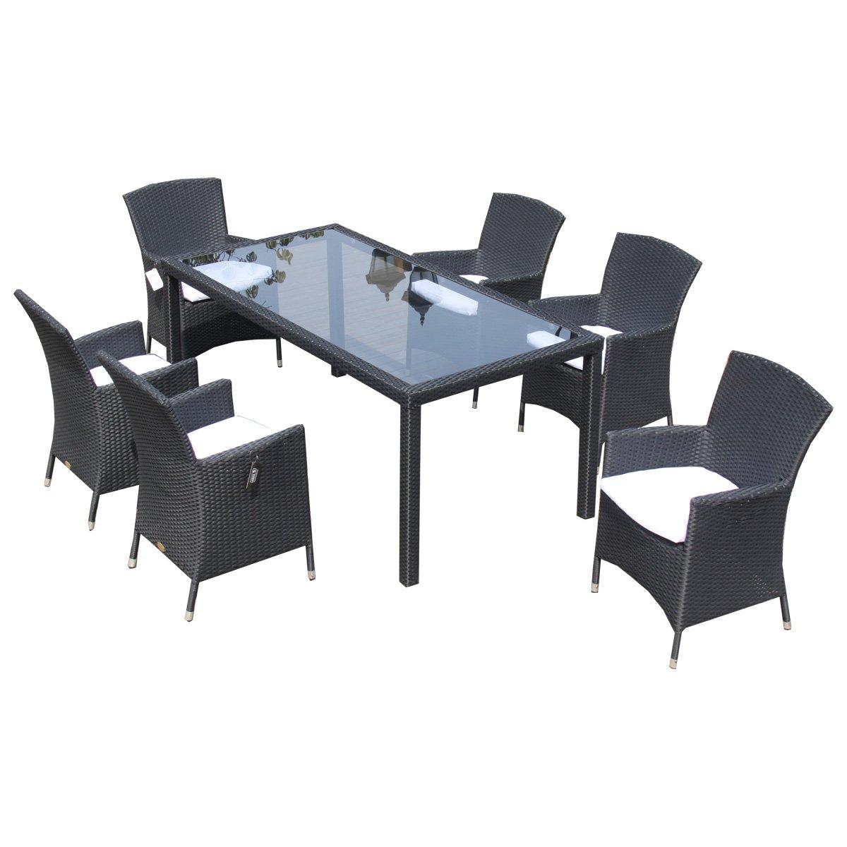 Ambientehome Polyrattan Sitzgruppe Essgruppe Ledo, schwarz, 7-teiliges Set online kaufen