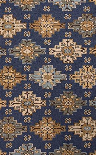 Jaipurrugs Home Indoor Floor Decorative Hand-Tufted Durable Wool Blue/Tan Wayward Rectangle Area Rug Border Color Deep Navy 5X8 front-248420