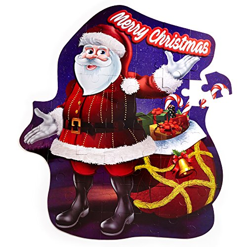Premium Christmas Large Santa Floor Puzzle - 53 Extra Thick Sturdy Pieces - Perfect Jigsaw Puzzles