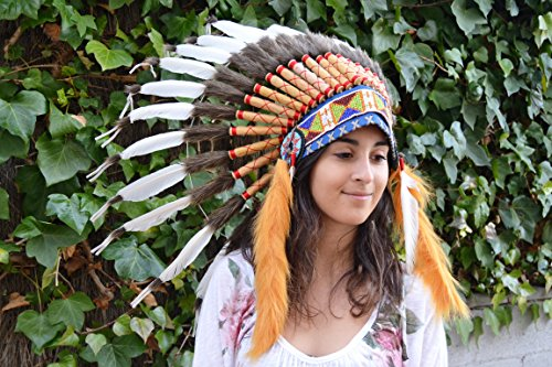 White Chief Indian Feather Headdress / Native American Warbonnet