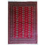 Bokhara handemade area rug 100% wool hand-knotted. Size 5.7x7.6, Extra Fine Thread, 180 Knots