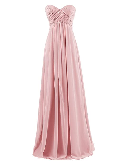 Time Dresses Sweetheart Bridesmaid Chiffon Prom Dresses Long Evening Gowns Blush XS