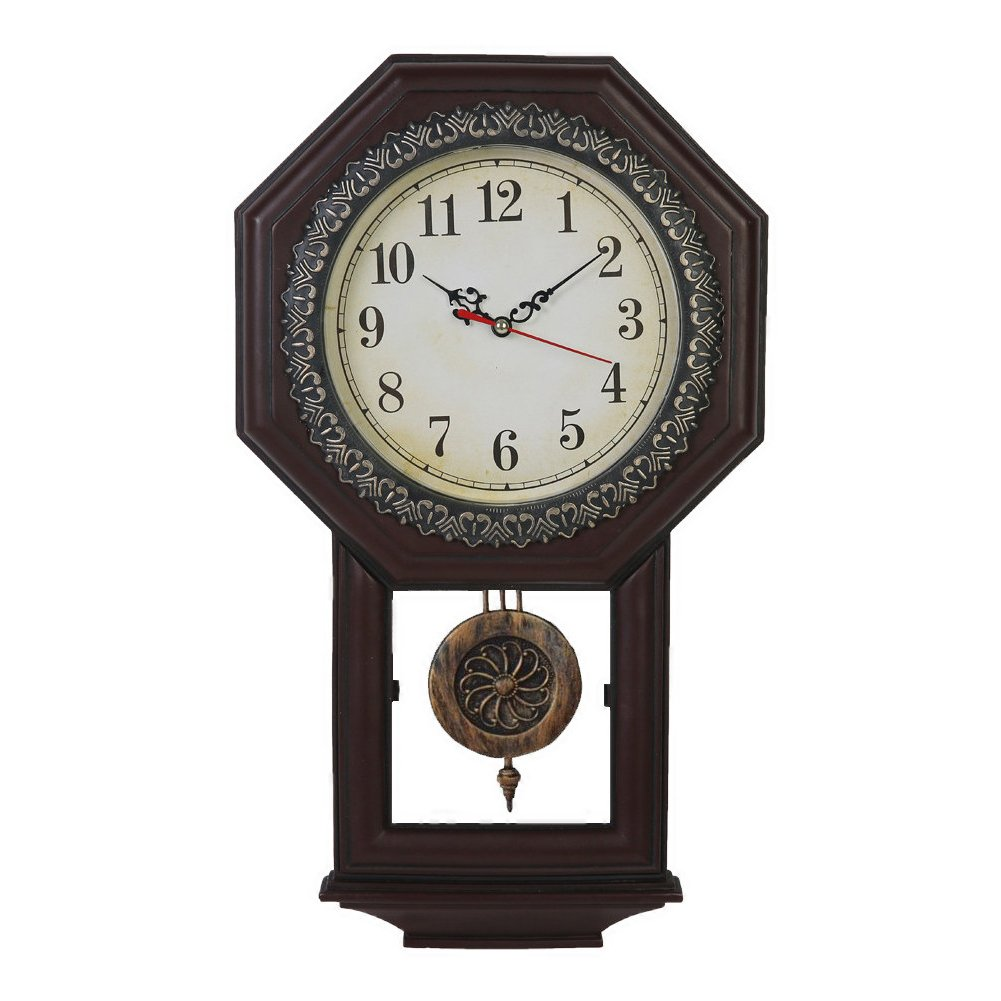 Giftgarden Housewarming Vintage Wall Clock Imitation Wood Color for Bedroom Decor 0