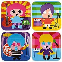 French Bull Kids Melamine Plate, 8-Inch, Rock Stars Kids, Set of 4