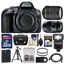 Nikon D5300 Digital SLR Camera Body (Grey) with 18-140mm VR & 70-300mm Zoom Lens + 32GB Card + Case + Flash + Battery Kit