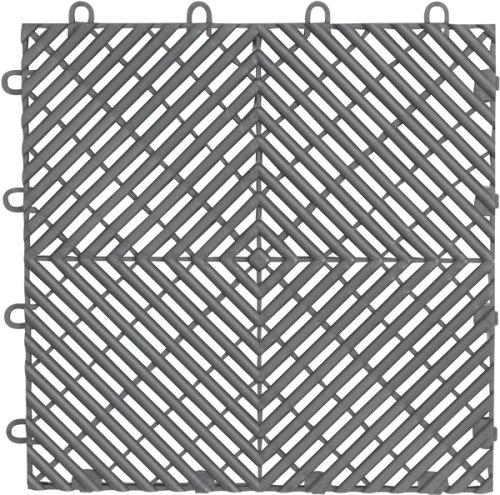 Gladiator GarageWorks GAFT04DTPS Silver Drain Floor Tile, 4-Pack